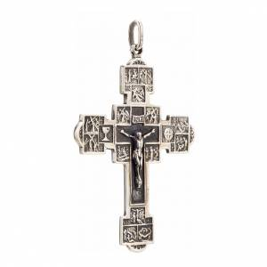 Pendant crucifix with Stations of the Cross, sterling silver s2