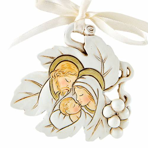 Pendant Holy Family leaf shaped 5cm s1