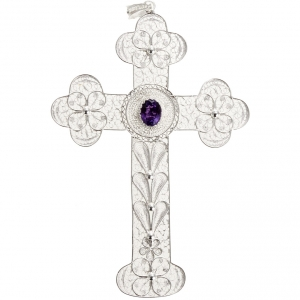 Pendente croce ametista filig. argento 800 - gr. 10,8 s3