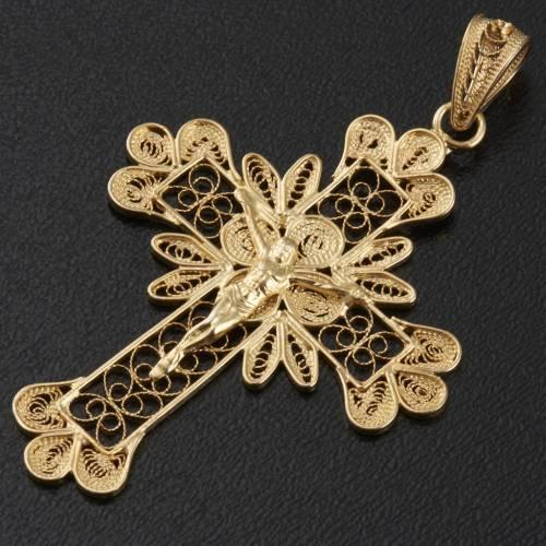 Pendente croce argento 800 filigrana bagno oro - gr. 3.5 s3