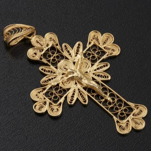 Pendente croce argento 800 filigrana bagno oro - gr. 3.5 s2