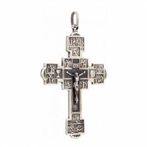 Pendente croce con Via Crucis argento 925 s2