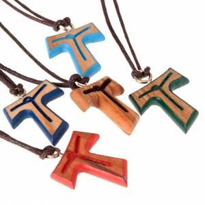 Pendentif tau: Pendentif tau Christ coloré