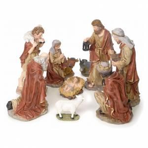 Belén resina y tela: Pesebre completo 50cm resina 10 estatuas mod. color