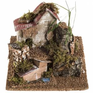 Petit bourg avec maisonnettes, milieu crèche noel s1