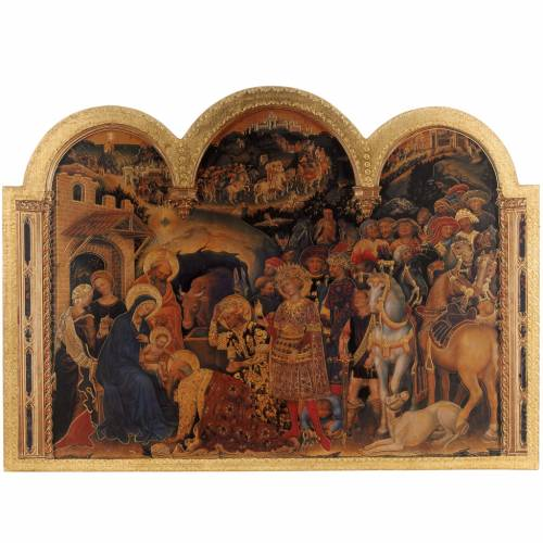 Picture Adoration of the Magi, print on wood 49x68cm s1