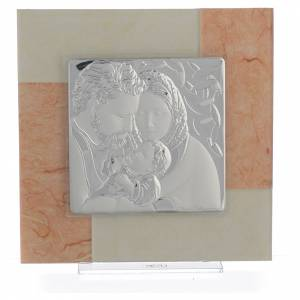 Bonbonnière: Picture with Holy Family, ivory and tobacco colour in silver 20x20cm
