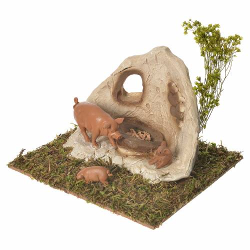 Pigsty in plaster with wooden base for nativities 10x16x13cm s2