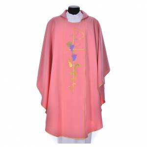 Pink chasuble in 100% polyester, Chi-Rho ears of wheat, grapes s1