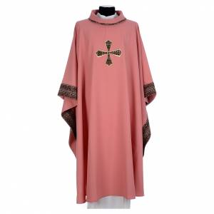 Chasubles: Pink chasuble in 100% polyester with inserts in fabric and embroidered cross