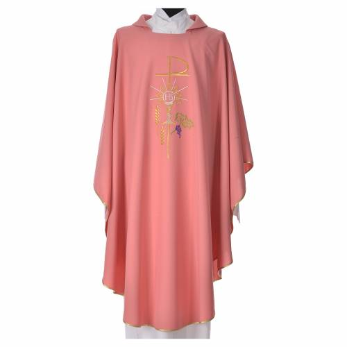 Pink Chasuble in polyester Chi-Rho monstrance chalice and wheat s1