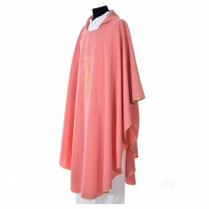 Pink Chasuble in polyester with cross, lantern and wheat symbol s2