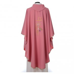 Pink Chasuble in wool and lurex with Chi-Rho, monstrance, wheat s2
