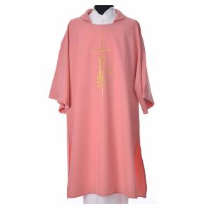 Pink Dalmatic 100% polyester cross, spike and flame s1