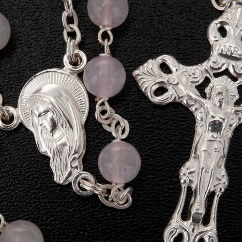 Pink Quartz rosary in 925 silver s3