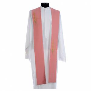 Stoles: Pink stole in polyester, wheat ear, stylised cross