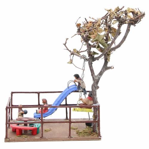 Plaine de jeux avec enfants toboggan balançoire 12 cm crèche Naples s4