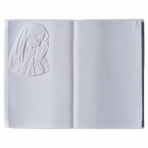 Plaque funéraire livre et Vierge en marbre synthétique s1