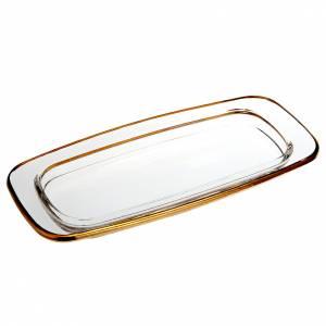 Vinajeras de vidrio: Plato de cristal cuadrado dorado 20x 9,5 cm.