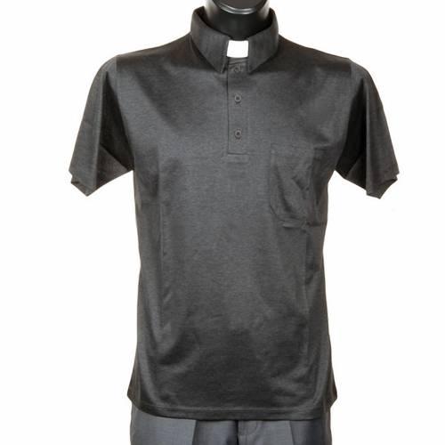 Polo colletto civile grigio scuro filo di Scozia s1