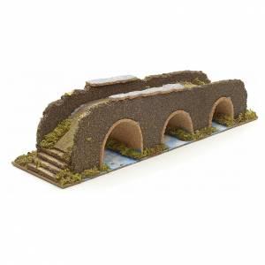 Ponts, ruisseaux, palissades pour crèche: Pont à arches en miniature pour crèche 35x10x8,5