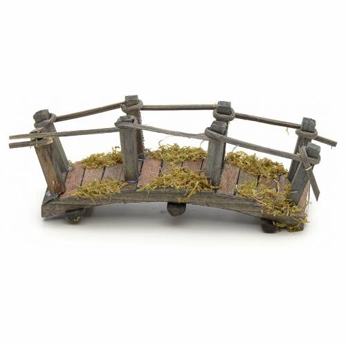 Pont en bois en miniature pour crèche 17,5x6x7 cm s1