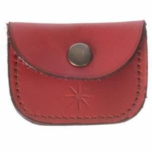 Portarosarios: Porta medalla de piel roja Monjes de Bethlèem