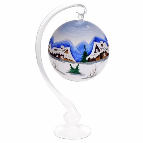 Porta vela de Navidad pintado a mano vidrio soplado s1
