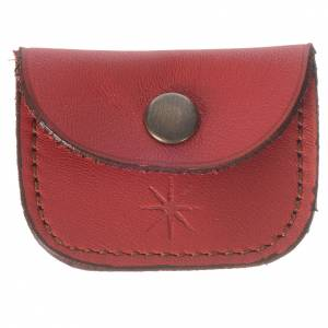 Portarosari: Portamedaglia pelle rossa Monaci di Bethlèem