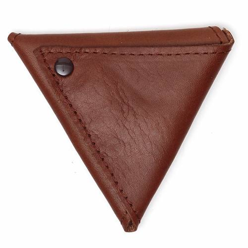 Portarosario triangolo pelle marrone Giubileo s2