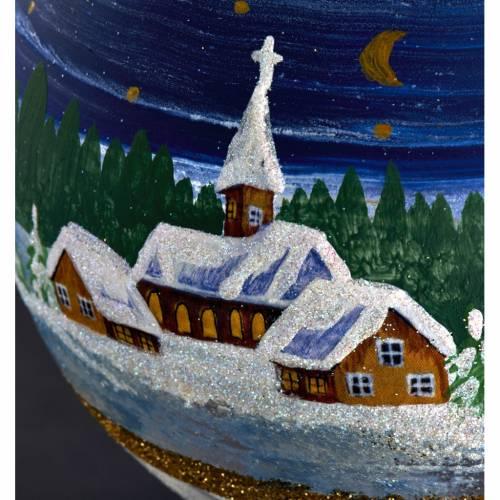 Porte bougie de Noel en verre soufflé paysage nuit s4