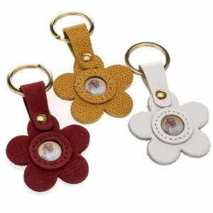 Porte-clés: Porte clé cuir Pape Francois fleur