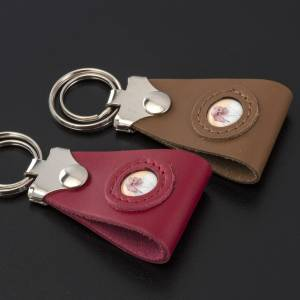 Porte-clés: Porte clé cuir Pape Francois