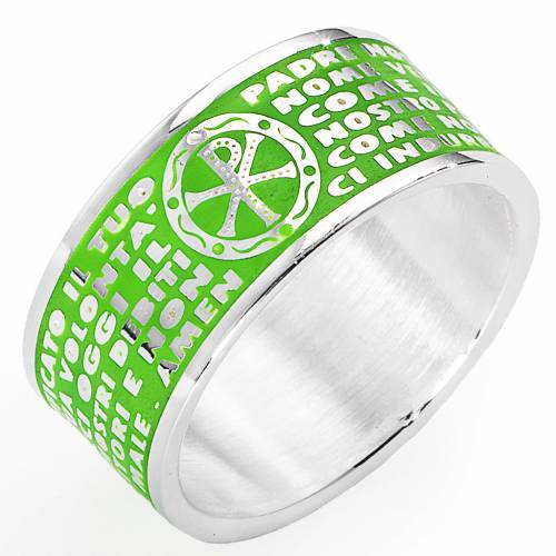 Prayer ring AMEN, Our Father, in green enamel s1