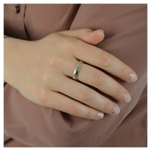Prayer ring in 925 silver with golden decades s4