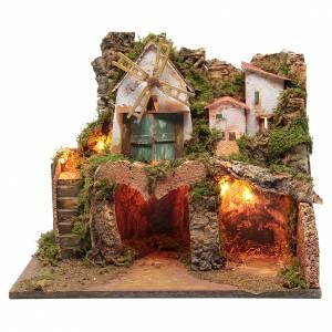 Capanne Presepe e Grotte: Presepe con borgo con mulino a vento funzionante e luci