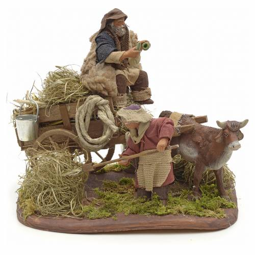 Scena contadini con carro 10 cm s1