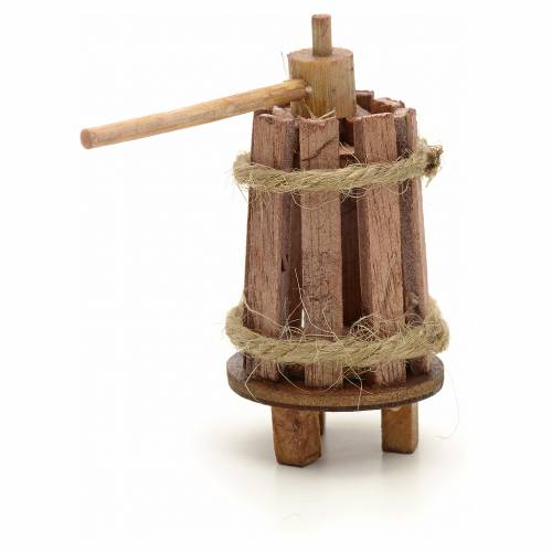 Pressoir bois en miniature pour crèche 3 cm s2