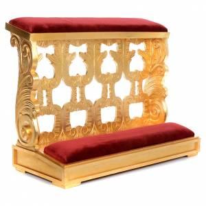 Prie-Dieu bois taillé en feuille d'or inaltérable 2 places s1