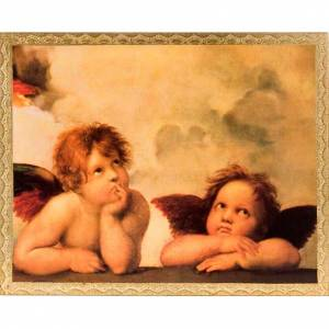 Print on wood, Raffaello's Angels with frame s1
