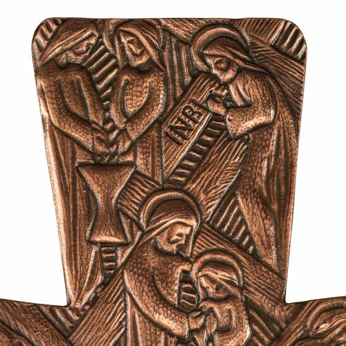 Processional cross in bronze with Stations of the Cross images s3