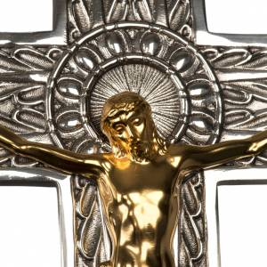 Processional crosses and stands: Processional cross in silver-plated bronze with gold-plated corpus