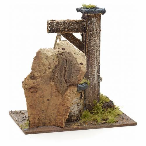 Puits en miniature pour crèche avec roche en liège 15x15x10 s3