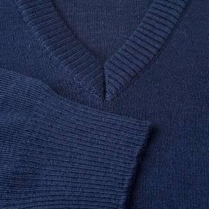 Pullover, ouverture en V, bleu s3