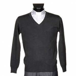 Vestes, gilets, pullovers: Pullover, ouverture en V,gris foncé