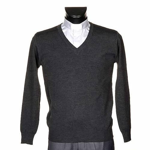 Pullover, ouverture en V,gris foncé s1