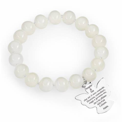 Pulsera AMEN perlas bancas de Murano 10 mm. plata 925 s1