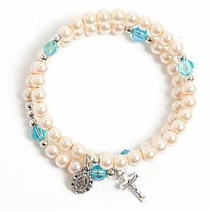 Pulsera rosario símil perla aro de memoria blanca s1