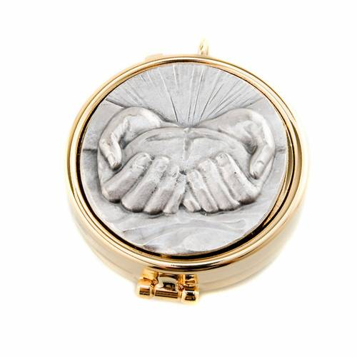 Pyx with pewter bread and hands plate s1