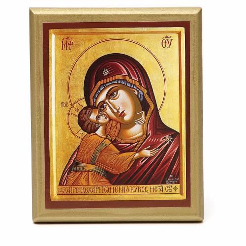 STOCK Quadretto Madonna manto rosso bordo oro 14x11 cm s1